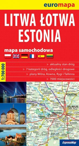 ksi��ka -  Litwa, �otwa, Estonia papierowa mapa samochodowa (skala 1: 700 000) - Wydawnictwo EXPRESSMAP